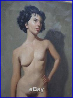 Vintage 1950s Brendon Berger Realistic Nude Woman Oil on Canvas Signed