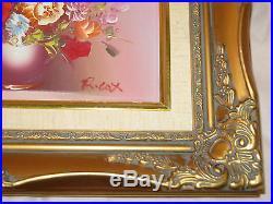 Vintage 2 Original ROBERT COX OIL on CANVAS Floral Painting FLOWERS GOLD FRAMES