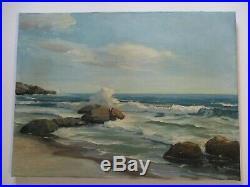 Vintage American Regionalism Painting Landscape Seascape Beach Coastal Waves