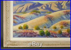 Vintage CARL G. BRAY California Desert Mountain Landscape Plein Air Oil Painting
