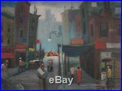 Vintage Elmer Schwab Painting Mod Ashcan Wpa Style Listed American Street Urban