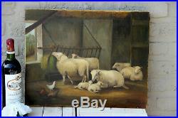 Vintage Flemish Oil Canvas Sheep farm chicken animal painting