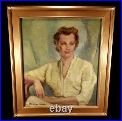 Vintage Lady Portrait Oil Painting Listed California Artist Maria Von Ridelstein