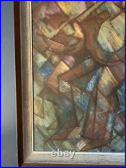 Vintage Mid Century Cubist Abstract Geometric Painting Figural Musicians 18x27