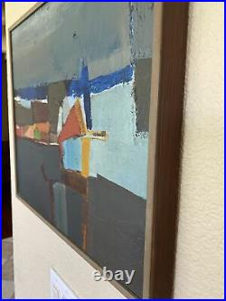 Vintage Mid Century Modern Abstract Oil Mixed Painting Listed Ray Jacobsen MCM