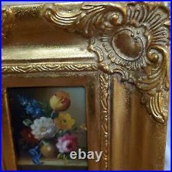 Vintage Oil On Canvas Still Life Flowers Painting Gold Gilt Frame Signed