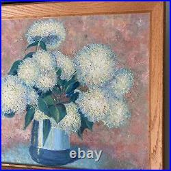 Vintage Oil Painting Floral Still Life Impressionist Pink White Pastel Framed