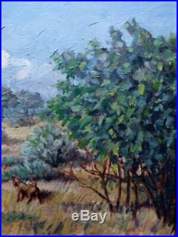 Vintage Oil Painting Randall Kahn American Impressionist Bird Hunting Landscape