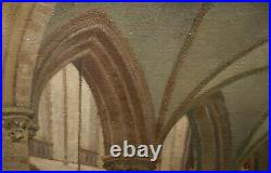 Vintage Oil Painting St Bavo Church The Netherlands Carl W. Houbein Listed Dutch
