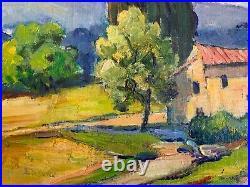 Vintage Original French Framed Oil Painting Provence Landscape Signed