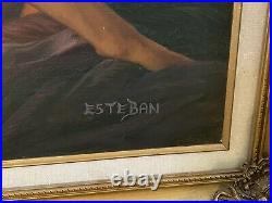 Vintage Original Oil Painting Nude Redhead Woman Signed & nicely Framed