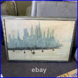 Vintage Painting Artwork Oil On Canvas Cityscape Skyline Richards LOCAL PICKUP