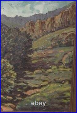 Vintage Painting Landscape Mountains Trees Oil on Canvas Carved Framed