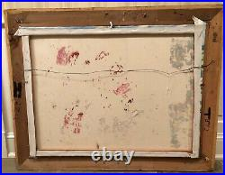 Vintage Signed Framed Claude Large Impressionist Oil Painting Landscape 40.5x38
