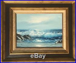 Vintage Stevens Ocean Coast Seascape Oil Painting Framed Art 16x12