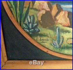Vtg MCM Oil On Canvas Painting Impressionist Polynesian Tiki Bamboo Frame E Lamb