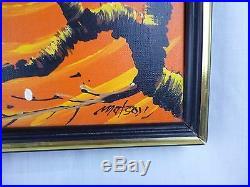 Vtg Mid Century Modern Signed Matson Owl Couple Sunset Oil Painting Kitschy