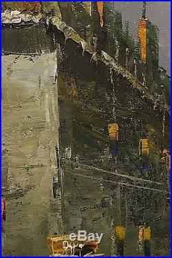 WILSON Large Impressionist Oil on Canvas Original Street Scene Framed Painting