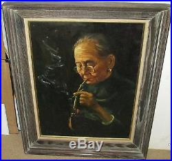 Wahso Chan Elder Chinese Woman Smoking Original Oil On Canvas Painting