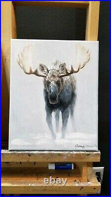 Western Winter Moose Painting Original Oil on Canvas Signed by Artist