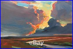Wm HAWKINS Landscape Alla Prima Large Craftsman Impressionism Art Oil Painting